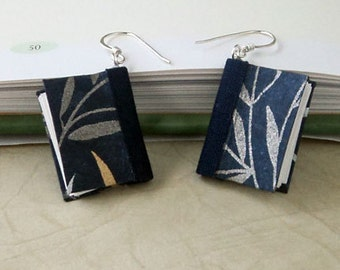 Mini Book Earrings, Midnight Blue Willow Book Earrings- silver
