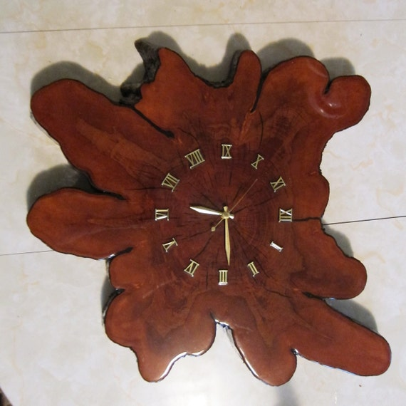 Large Rustic Vintage Tree Stump Wall Clock Battery Powered