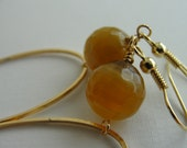 Cashmere Khaki  Agate Gold Hoop Earrings