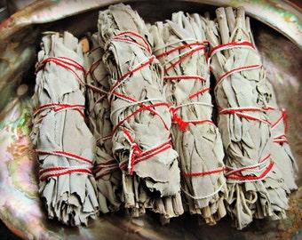 WHITE SAGE Ceremonial Smudge Bundle Stick 4 inches mini