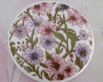 2 pcs. vintage plastic floral print cabochon 36mm - f4094