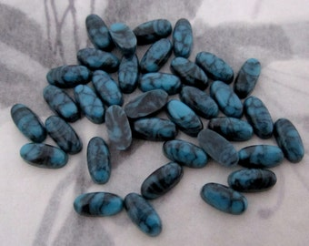 100 pcs. vintage plastic turquoise matrix oval cabochons 7x4mm - f4315