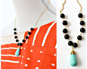Turquoise Beaded Strand Necklace, Black Bead Strand Necklace