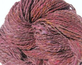 Handspun Alpaca Yarn for Knitting, Crochet, Weaving, Felting, Burgundy Yarn,  Bulky Yarn, 150 yards