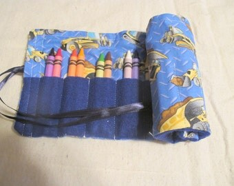 Construction Vehicles Fabric Twenty Four Crayon Roll Up Crayons Included