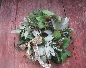 WINTER SAMPLER WREATH  natural winter holiday decoration Real Evergreens