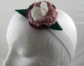 Romana - Crocheted Rose Headband - White, Pink, and Dark Rose on White Stretchy Headband (SWG-HH-DWRO01)