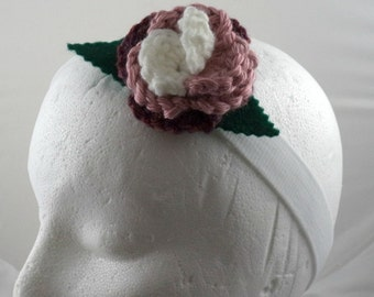 Romana - Crocheted Rose Headband - White, Pink, and Dark Rose on White Stretchy Headband (SWG-HH-DWRO01)