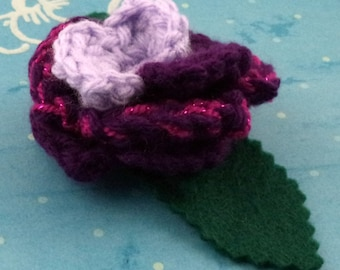 Crocheted Rose Bar Pin - Lavender, Purple, and Sparkly Pink (SWG-PS-MPTS02)