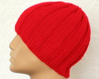 Red ribbed beanie hat, skull cap, knit toque, red hat, beanie hat, ribbed hat, mariner seafarer longshoreman cap, mens womens hat, chemo cap