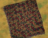 "Variegated Autumn Crochet Lap Throw/Baby Blanket, Approx. 46"" Square"