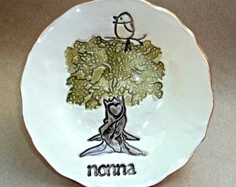 NONNA family tree with 1 Birdy Ceramic  Trinket Bowl Mothers Day