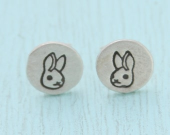 BUNNY stud earrings, Illustration by BOYGIRLPARTY, eco-friendly silver.  Handcrafted by Chocolate and Steel.