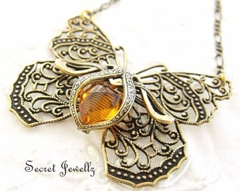 Butterfly Pendant Necklace, Bohemian Necklace, Antique Gold, Glass Topaz Stone, Butterfly Jewellery, Nature Inspired, Papillons Bijoux