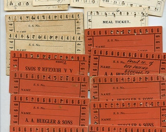 Vintage Meal Tickets 1940s Lot of (12) Punch Cards Different Variety Ephemera 2462
