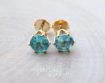 astrid - 5mm apatite earrings. gemstone studs. blue green earrings. silver or gold studs.