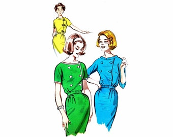 1960s Womens Double Breasted Wiggle Dress Butterick 9655 Vintage Sewing Pattern Misses Sheath Dress Size 18 Bust 38