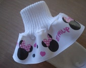 Ruffle Ribbon Socks PERSONALIZED MTM Mouse Head Pink & White Polka Dot Bow Girls Pageant Tea Birthday