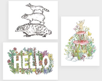 Postcard Set | 3 Flora and Fauna Drawings by Marie Gardeski