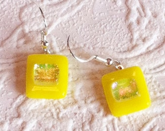 Square Yellow Dichroic Glass Earrings With Sterling Silver Earwires