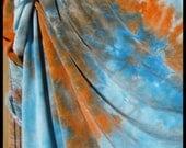 Hand Dyed Organic Bamboo Velour Blanket Turquoise & Orange - Stadium Blanket - Throw