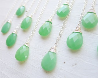 Mystic Waters - Green Chrysoprase Pendant Necklace