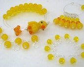 Rubber Ducky Complete Knitting Set (Row Counter Bracelet, Stitch Markers, Small and Medium Droplets)