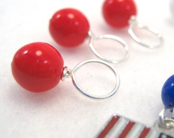 Stars and Stripes Stitch Marker Drops for Knitting (Set of 8 plus Charm - Choose Your Size)