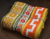 Selection of four yards of vintage woven fabric trims Pack B