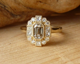 Emerald Cut Diamond Halo Ring, Deposit
