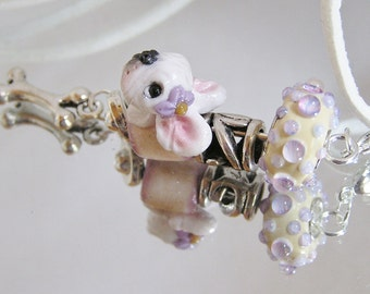 French Bulldog White European Vertical Bead Polymer Clay Dog Necklace - New Design