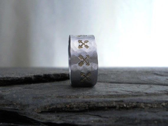 Crossed Arrows Ring - Wide Silver Band - Arrow Jewelry, Gift for HIM under 30
