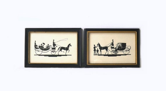 Pair Vintage Horse Carriage Silhouettes, Wood Frames, Coach, Horse and Buggy, Shabby Cottage Home Decor