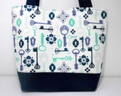 Blue and White Large Tote Bag Vintage Keys Diaper Bag With Pockets