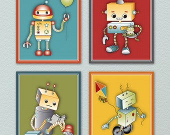 Set of four Fun and Colorful Robot Nursery Art Prints, Wall Art. Colors match (M2M) robots play bedding