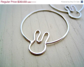 Bunny Hoops - animal earrings, small hoops, silver hoops, gift under 50, maryandjane etsy