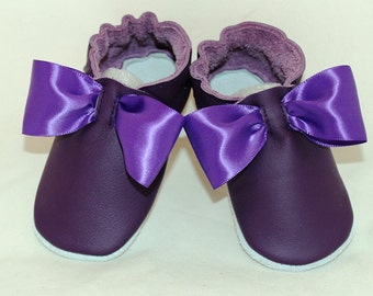 NEW soft sole leather BABY crib shoes purple bows pick your size