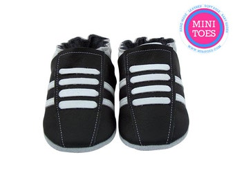 NEW soft sole leather baby crib shoes black running pick your size FREE SHIPPING