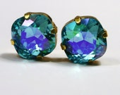 Turquoise Blue Crystal Stud Earrings Classic Shimmer AB Sparkling Placid Aqua Solitaire Swarovski 10mm 12mm Post & Copper Women's Jewelry