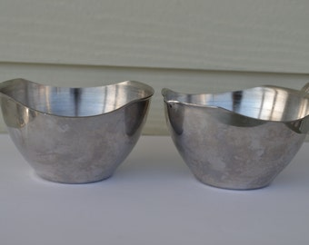 Vintage Stainless Steel Creamer and Sugar Made in Japan Mid Century Modern