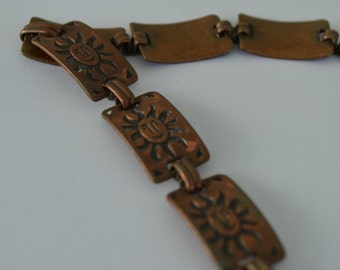 Vintage Copper Southwestern Sun Bracelet