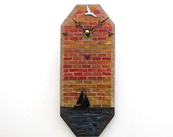 Sailboat Mosaic Wall Clock, Optional Wood Stand for Desk Shelf Clock, Sunset Sailing Artisan Glass Mosaic Clock, Tropical Office Living Room