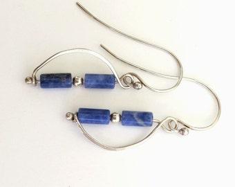 Vine Earrings - Sterling Silver 925 - Denim Blue Sodalite Jade Stones - Curved and Hammered Dangle Earrings