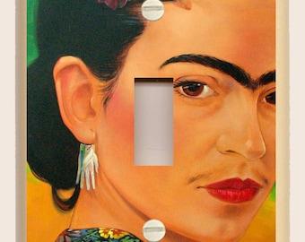 Frida Kahlo  - Green and Orange - Single Light Switch Cover - Mexican Folk Art - Altered Art