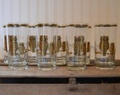 Vintage OWL Glass set of 8, Culver, 22K, 10 oz,