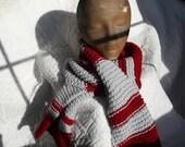Maroon Scarf - Grey Scarf - Knit Scarf - Handmade Scarf - Winter Scarf