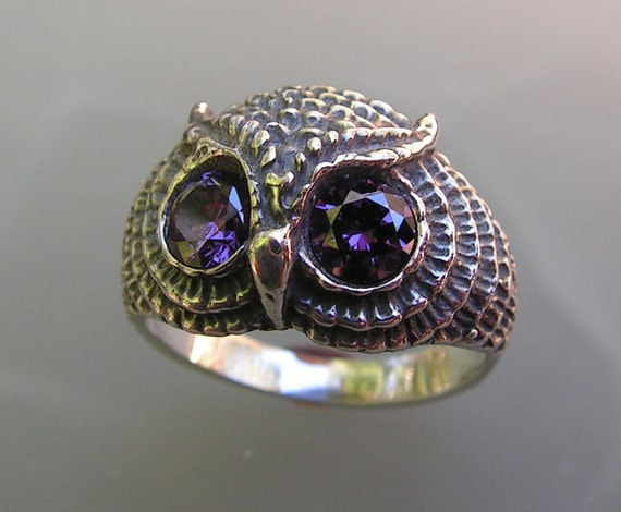 Sterling Silver Owl Ring With Amethyst Eyes