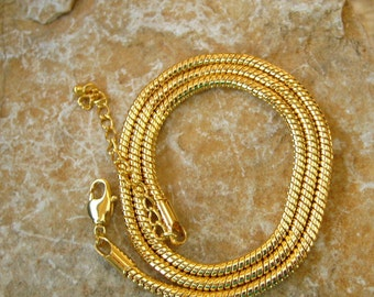 "20 Inch Gold Plated Slinky Necklace, Gold Plated Choker, 20"" Gold Plated Omega Type Choker"