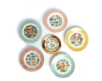 Your Choice vintage State Plate - SD TN - Road Trip Souvenir Plates - Pastel Gold filigree - cottage kitsch