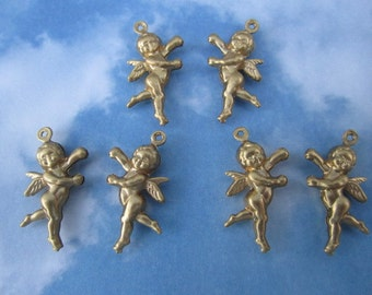 Angel Charms Double Sided Brass Supplies on Etsy x Quantity Choice